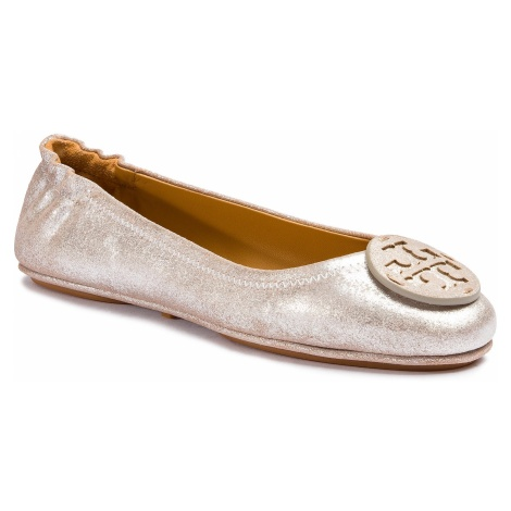 Baleriny TORY BURCH - Minnie Travel Ballet With Logo 53289 Metallic Perfect Sand 262