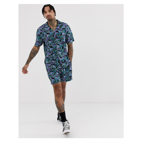 Another Influence CO-ORD peacock print revere collar short sleeve shirt