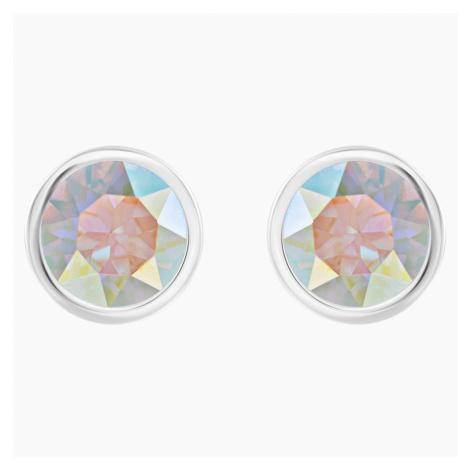 Solitaire Pierced Earrings, Multi-colored, Rhodium plated Swarovski