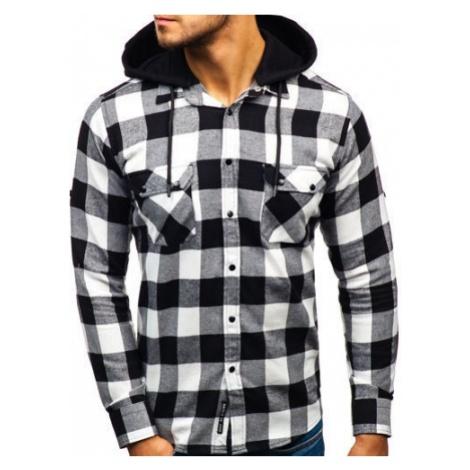 Koszula męska flanelowa z długim rękawem czarno-biała Denley 1031 BREEZY