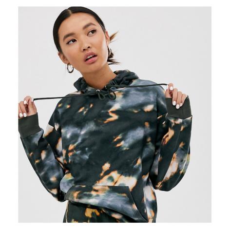 Monki tie dye classic hoodie in grey