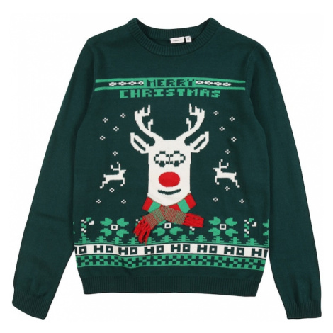 NAME IT Sweter 'Reindeer' zielony / jodła / biały / czerwony