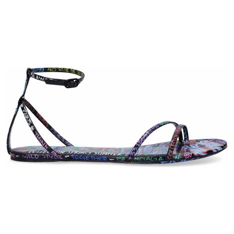 Balenciaga - Buty Sandały z zapięciem IMPRIME GRAFITY  Logo Nadruk  czarny różnokolorowy