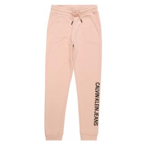 Calvin Klein Jeans Spodnie 'LOGO COTTON TERRY SWEATPANTS' różowy pudrowy