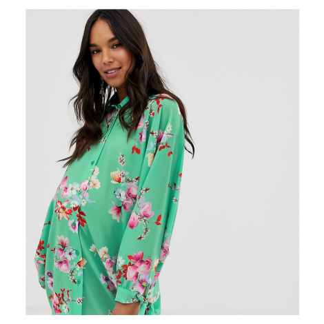 Blume Maternity oversized shirt in multi floral
