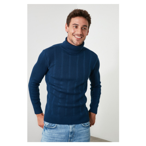 Trendyol Oil Male Turtleneck Textured Knitwear Sweater