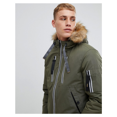Esprit short parka with teddy lined faux fur hood