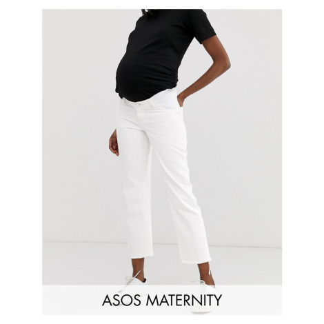 ASOS DESIGN Maternity Florence authentic straight leg jeans in bone chalky white with side bump