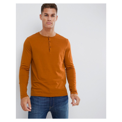 ASOS DESIGN long sleeve t-shirt with grandad neck in brown
