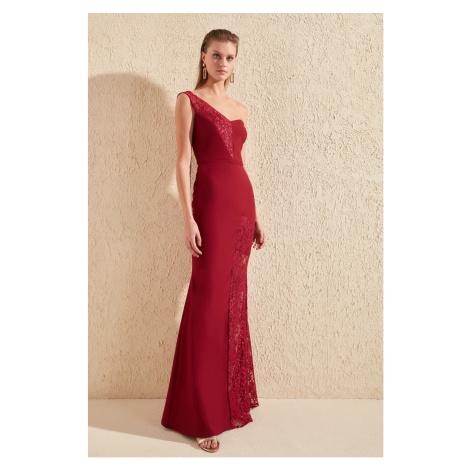 Trendyol Burgundy Lace Detailed Evening Dress & Graduation Dress