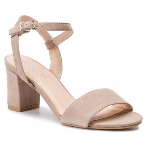 Sandały EKSBUT - 38-5039-L51-1G Beż Welur