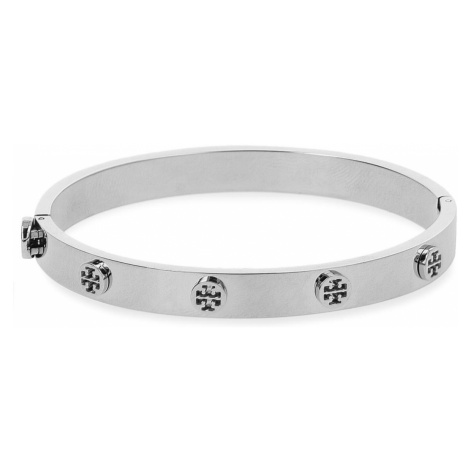 Bransoletka TORY BURCH - Logo Stud Hinge Bracelet 37396 Tory Silver 022