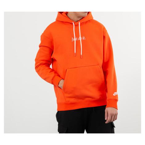 Nike Sportswear Just Do It Pullover Fleece Heavyweight Hoodie Team Orange/ White