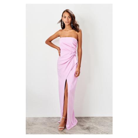 Trendyol Lilac Ruffle Detailed evening dress