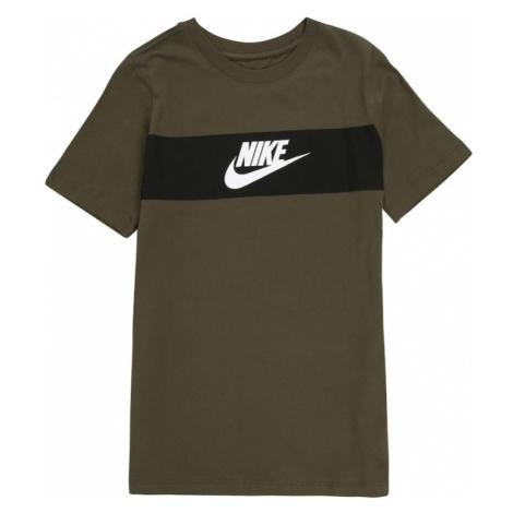 Nike Sportswear Koszulka khaki / ciemnozielony / biały