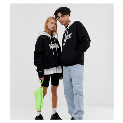 Crooked Tongues unisex oversized hoodie with contrast hoodie and back print