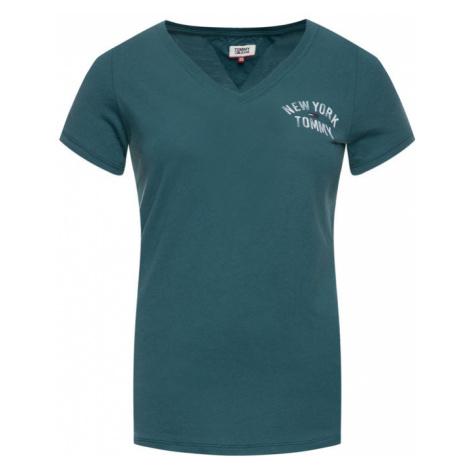 Tommy Jeans T-Shirt New York DW0DW07343 Zielony Slim Fit