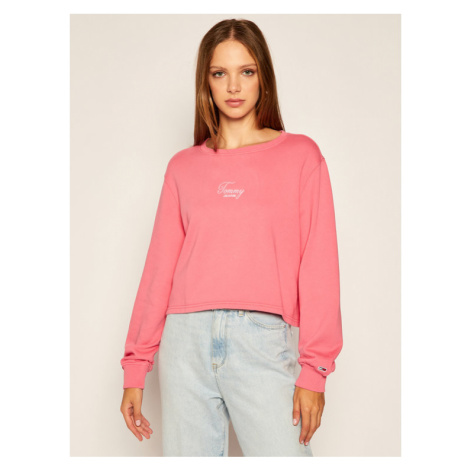 Tommy Jeans Bluza Washed Logo DW0DW08549 Różowy Relaxed Fit Tommy Hilfiger