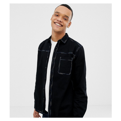 ASOS DESIGN Tall overshirt with multicolour contrast stitching in black