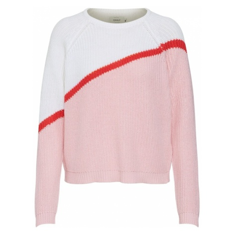 ONLY Sweter 'Hilde' różany / czerwony / biały