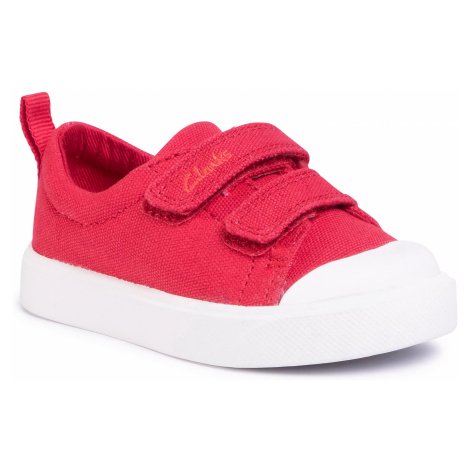 Trampki CLARKS - City Bright T 261490927 Red Canvas