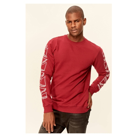 Trendyol Burgundy Mens Sweatshirt-Graphic-Printed