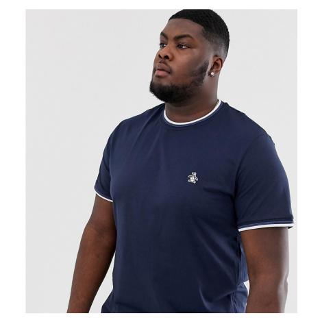 Original Penguin big & tall ringer crew neck t-shirt with sticker pete logo in navy