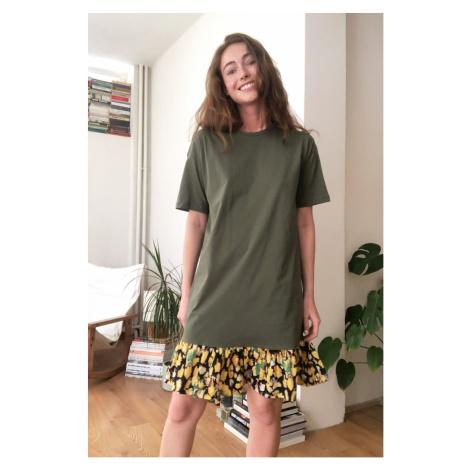 Trendyol Khaki Woven Detailed Knitting Dress