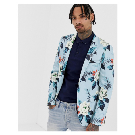 ASOS DESIGN skinny blazer with floral allover print in blue