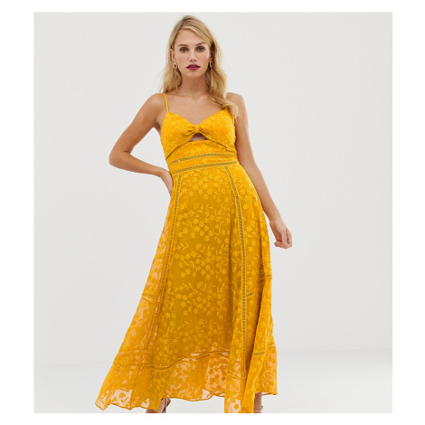 Forever New cami strap midi lace dress with tie front in yellow