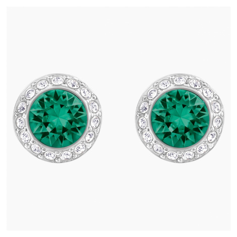 Angelic Pierced Earrings, Green, Rhodium plated Swarovski