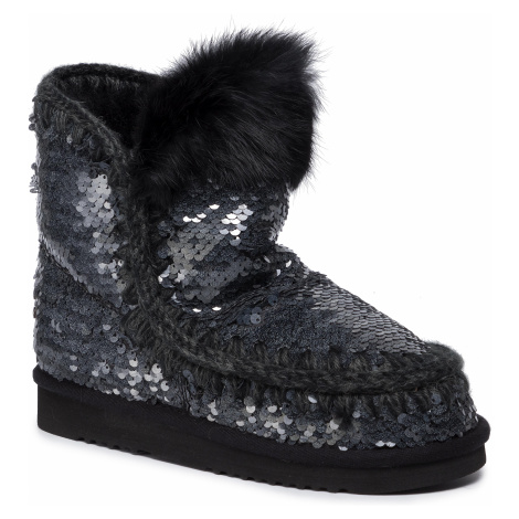 Buty MOU - Eskimo All Sequins Rabbit Fur Trim (01a) New Black