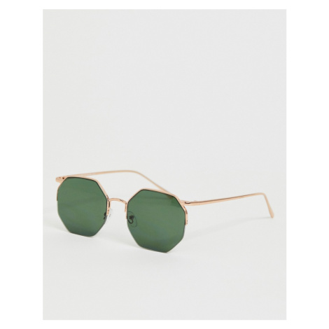 River Island octagonal sunglasses in gold