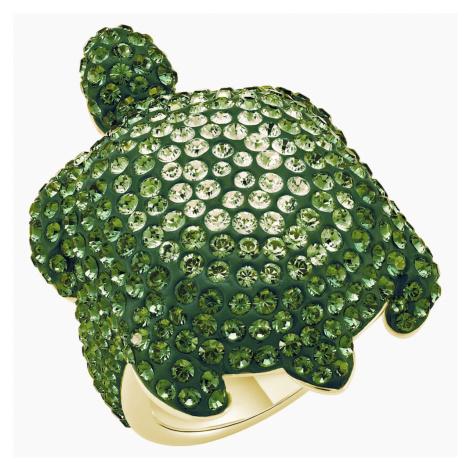Pierścionek Mustique Sea Life Turtle, duży, zielony, powłoka w odcieniu złota Swarovski