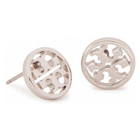 Tory Burch Kolczyki Logo Circle Stud Earring 11165518 Srebrny