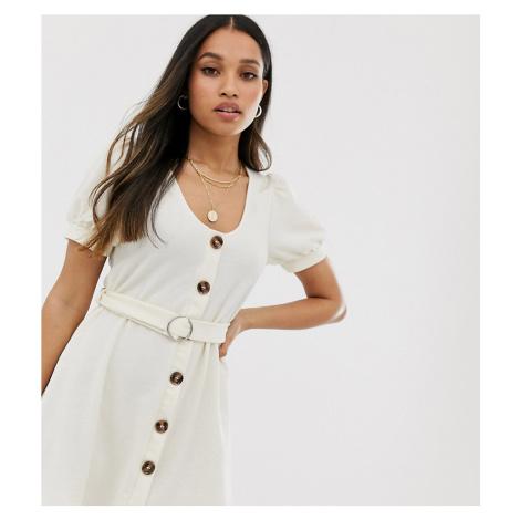 Miss Selfridge Petite dress with belt in beige