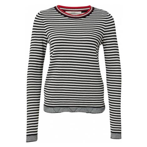 EDC BY ESPRIT Sweter czarny / biały / jasnoczerwony