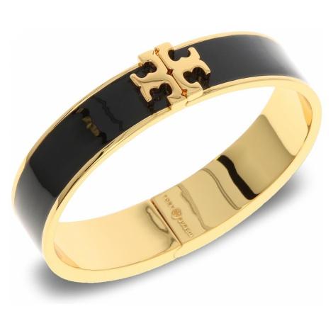 Bransoletka TORY BURCH - Enameled Raised-Logo Hinged Bracelet 41872 Black/Tory Gold 010