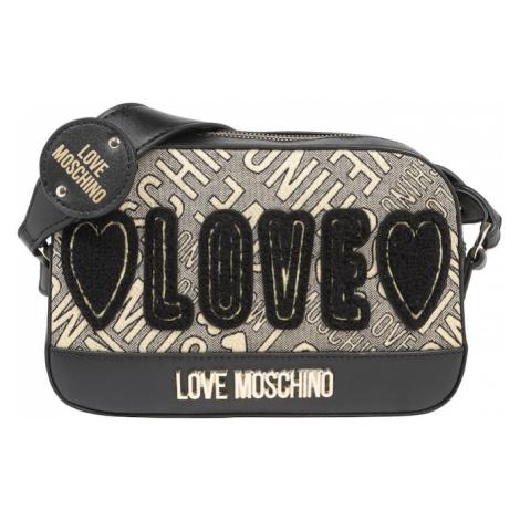 Love Moschino Torba na ramię 'BORSA JACQUARD GOLD +CALF PU NERO' beżowy / czarny