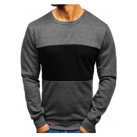Bluza męska bez kaptura bez nadruku grafitowa Denley TX23 J.STYLE