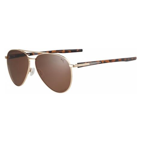 PUMA Okulary przeciwsłoneczne 'PU0268S-001' ciemnobrązowy / złoty