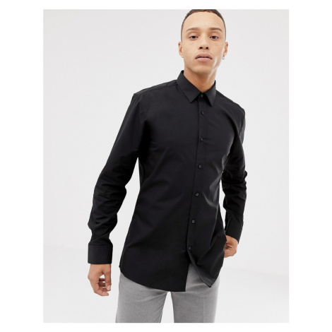 HUGO Elisha01 extra slim fit poplin shirt in black Hugo Boss
