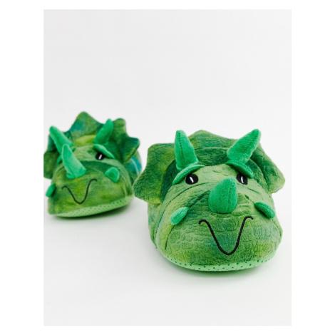 Burton Menswear dinosaur slippers in green