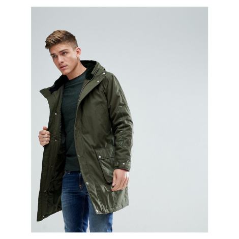 ASOS Heavyweight Parka With Embroidery In Khaki