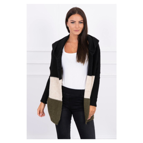 Trzykolorowy sweter z kapturem czarny+ beżowy+khaki