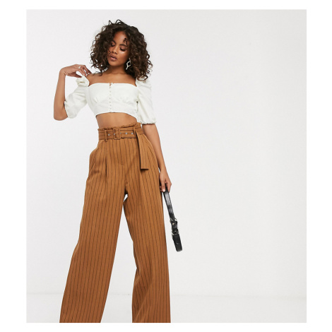 ASOS DESIGN tall belted wide leg trousers in pinstripe