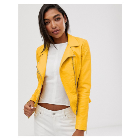 Only yellow faux leather jacket