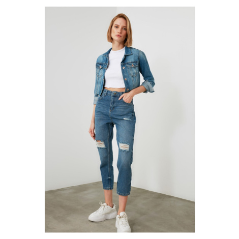 Trendyol Blue Ripped Detail High Waist Mom Jeans