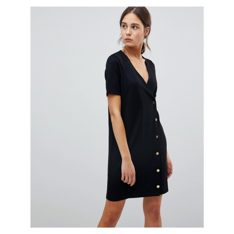 ASOS Button Front T-Shirt Dress In Ponte