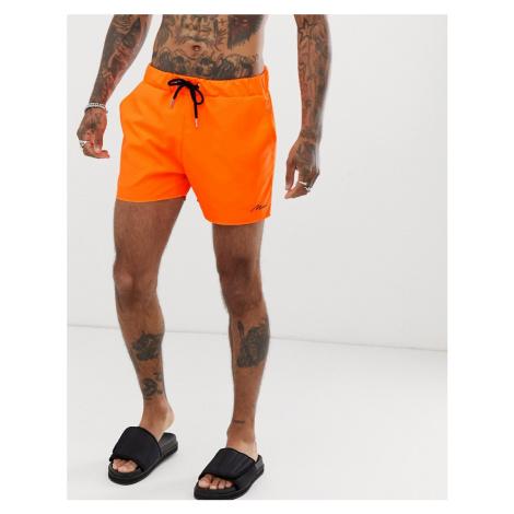 BoohooMAN swimshorts in neon orange